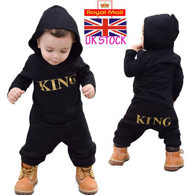 "UK Newborn Baby Boys ""KING"" Hooded Romper Kids Bodysuit Jumpsuit Outfits Clothes"