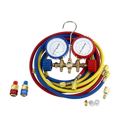 Air Conditioning Manifold Gauge  A/C Tester Refrigeration Diagnostic Full Kit