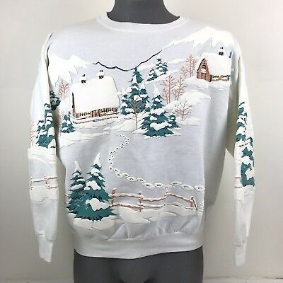 Vintage Lifestyles 1987 Ugly Christmas Sweater Winter Puffy Paint Print Cabin