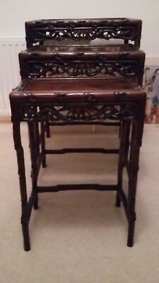 Antique NEST OF 3 TABLES. Hong Kong, late 19 century early 20th century