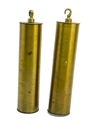Antique 2 x  brass cased lead long case clock weights grandfather