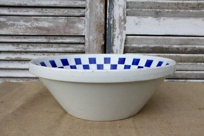 RARE Antique French Glazed Blue and White Pottery Bowl, Tian by Luneville