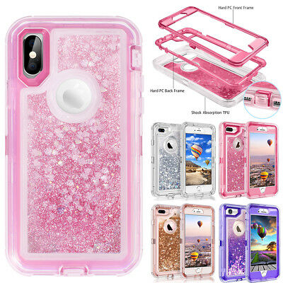 For iPhone 8 7 Plus 6 XS Max XR X Glitter Liquid Case Quicksand Shockproof  Cover d51ee9af0e75