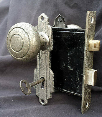 4 available Antique Vintage Art Deco Nickel Door Lockset Set Knob Plate Lock Key