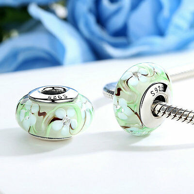 2017New Arrivals Green Murano Glass White Flower Charm Bead fit Charm Bracelet