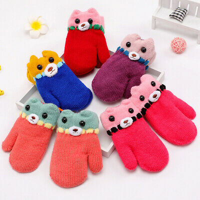 1Pair Toddler Baby Boy Girl Winter Cartoon Bear Full Finger Gloves Mittens Nice