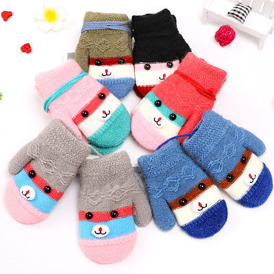 Kids Baby Boys Girls Winter Cartoon Neck Hanging Gloves Full Finger Mittens Nice