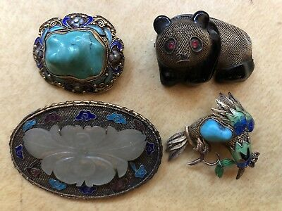 Fine 4 Chinese Export Silver Filigree Brooch Enamel White Jade Turquoise