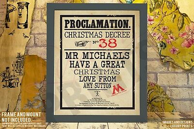 Personalised TEACHER Picture Print Gift Christmas Present Canvas Harry Potter