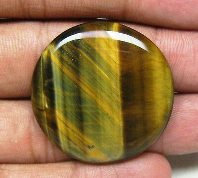 59 Cts Natural Tiger Eye Cabochon Round Shape Loose Gemstone B 4524