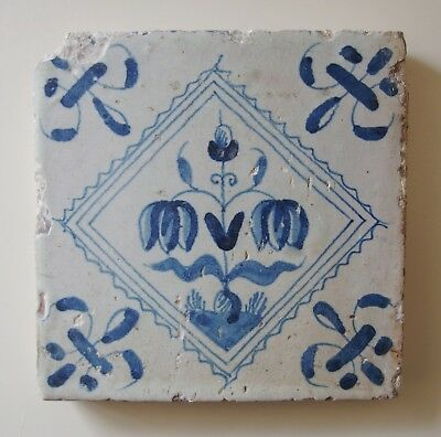 "17th Century DUTCH DELFT TILE ""SNAKE'S HEAD IN DIAMOND"""