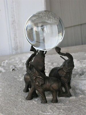Vintage Antique Cast Iron 3 Elephant Figurine Holding Solid Glass Ball