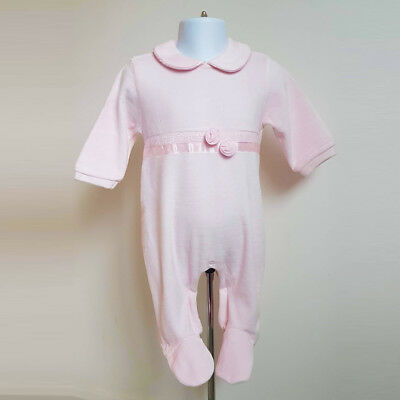 Baby Girls Pretty Spanish Style Pink Rose Ribbon Velour Babygrow Romper Outfit