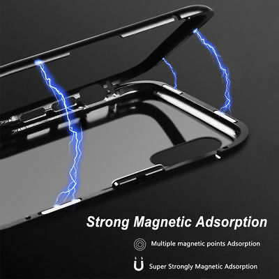 Magnetic Metal Frame Tempered Glass Back Phone Case Cover iPhone X XR 7s 8 Plus