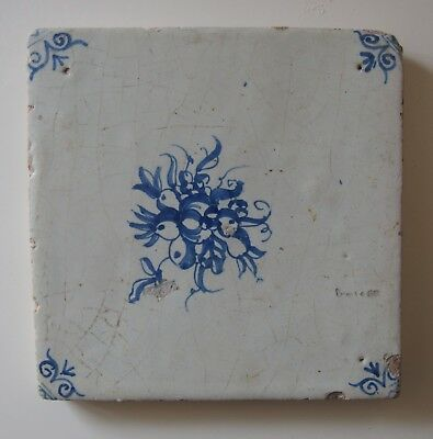 "17th Century DUTCH DELFT TILE ""ASSORTED FRUIT"""