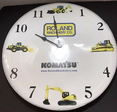 Vintage HUGE Wall Clock ROLAND Machinery KOMATSU Garage Workshop Decor