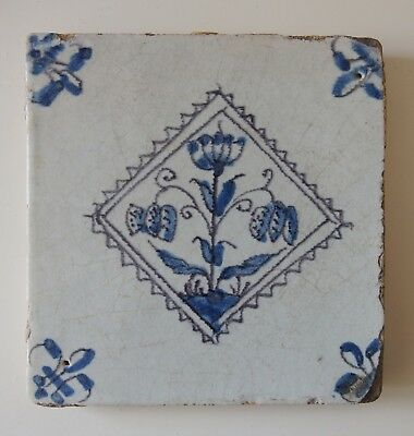 "17th Century DUTCH DELFT TILE ""SNAKE'S HEADS IN A NOTCHED DIAMOND"""
