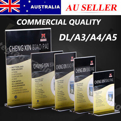 DL A5 A4 A3 Size Double Sided Sign Holder Acrylic Retail Display Stands Menu New