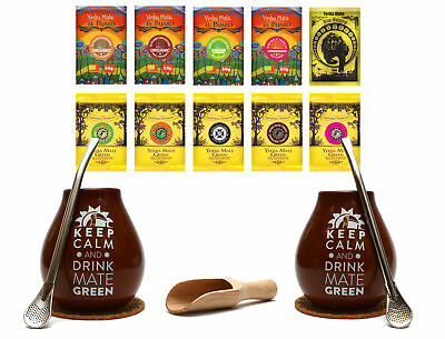 Double Yerba Mate Gourd And Bombilla Set Ceramic & Decorative Straw Starter Pack