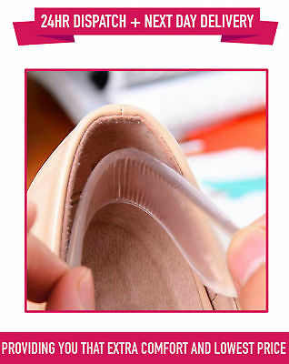 Soft Silicone Heel Pads for Comfort Insoles Gel Pads Cushion Shoe Grip UK SELLER