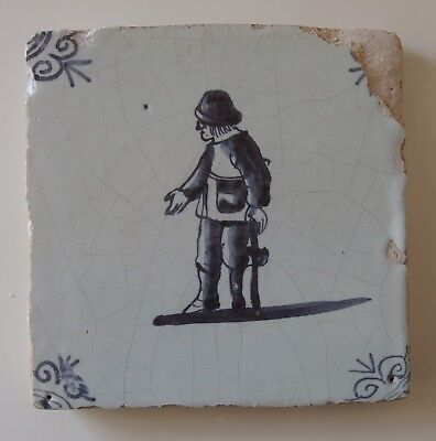 "17th Century DUTCH DELFT TILE ""BEGGAR WITH A WOODEN LEG"""