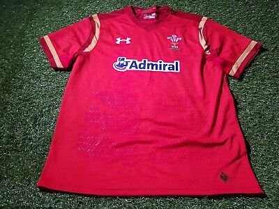 wales welsh cymru rugby union under armour large mans tight fit jersey
