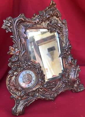 ANTIQUE 19th C. FRENCH PACEL GILT AND MINIATURE MIRROR NEO ROCOCO CLOCK PENDULE