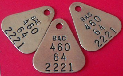 3 Vintage Aviation Tool Check Brass Tag:  BOEING AIRCRAFT Matched Set;