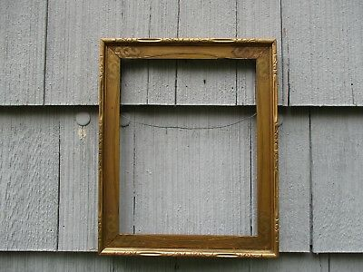 Antique Arts & Crafts era Gilt Wood Picture Frame with Glass fits 11 x 14