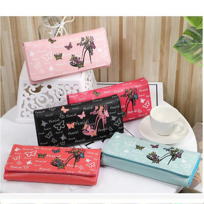 Butterfly High-heeled Shoes PU Leather Coin Purse Wallets Card Holder Bag N7