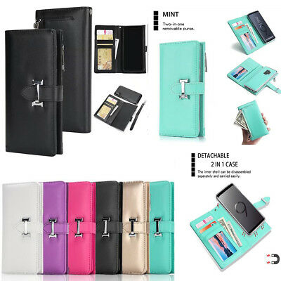 Luxury Magnetic Removable Flip Leather Wallet Phone Case Cover For Apple/SamSung