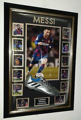 Lionel Messi of Barcelona Signed Football Boot Autographed Display
