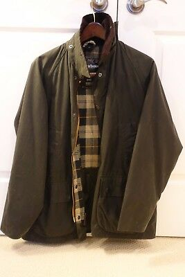 Barbour Bedale Sage size 40 waxed cotton jacket w/ Barbour zip-in liner & hood!