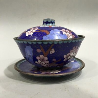 rare Chinese cloisonne  painting flower cup.    byh3