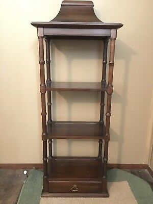 Ethan Allen Three Tier Pagoda Wall Shelf Vintage Georgian Court Cherry Wood