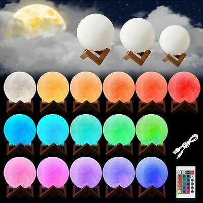 3D Printing Moon Lamp USB LED Night Lunar Light Touch 16 Color w/ Remote MA