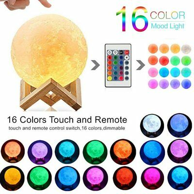 Moon Lamp 16 Colors LED 3D Print Moon Light with Stand & Remote&Touch Control MA
