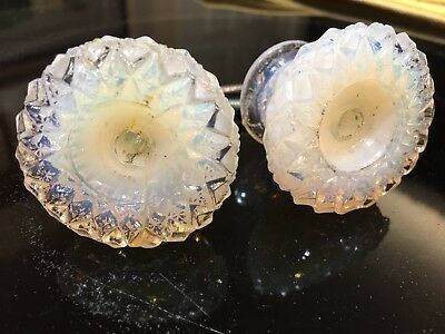 Antique Matching Pair of 19 C. Opalescent Sandwich Glass Drawer Pulls Knobs