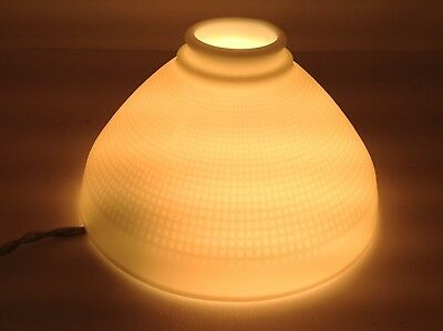 """Vintage Corning Milk Glass Lamp Shade 10"""" X 5.5"""" Torchiere Light Diffuser"""