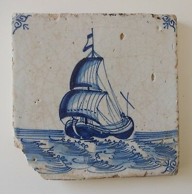 "17th Century DUTCH DELFT TILE ""SHIP"" (BOERENSCHEEPJE)"