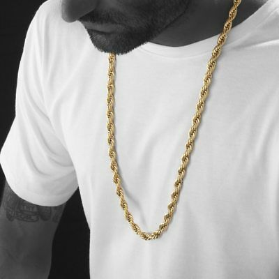 """Hip Hop Urban Style 4mm 24"""" & 5mm 30"""" 14K Gold plated Rope Chain Necklace"""