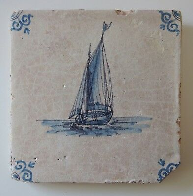 "17th Century DUTCH DELFT TILE ""SAILING SHIP"""