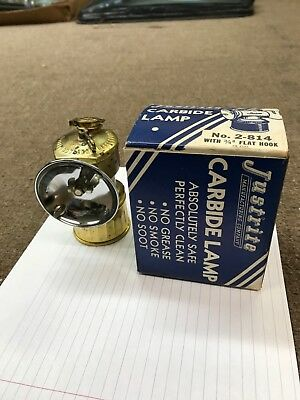 "Miners JUSTRITE ""PAT.APPLIED FOR""  CARBIDE LAMP with/BOX appears not ever used"