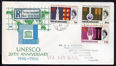 Turks and Caicos Islands - 1966 Unesco Registered Airmail First Day Cover