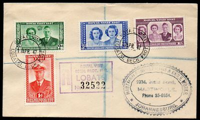 Bechuanaland - 1947 Royal Visit First Registered Cover