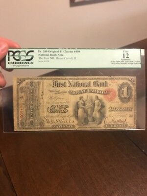 1865 ORIGINAL SERIES $1 NATIONAL CURRENCY BANKNOTE CHARTER 409 Mount Carroll, IL