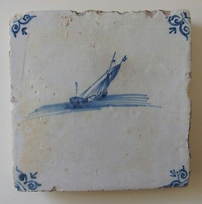 "17th Century DUTCH DELFT TILE ""TWO SHIPS IN A STORM"""
