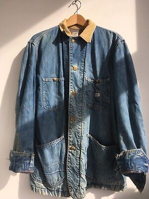 Vintage Lee Denim Chore Coat with Corduroy Collar