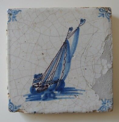 "17th Century DUTCH DELFT TILE ""SHIP"" (BLUE WITH PURPLE 'TREK')"