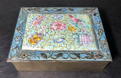 Antique Chinese Hand Painted Enamel Over Brass & Wood Cigarette Box